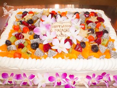 全面フルーツパーティ用デコレーションケーキ